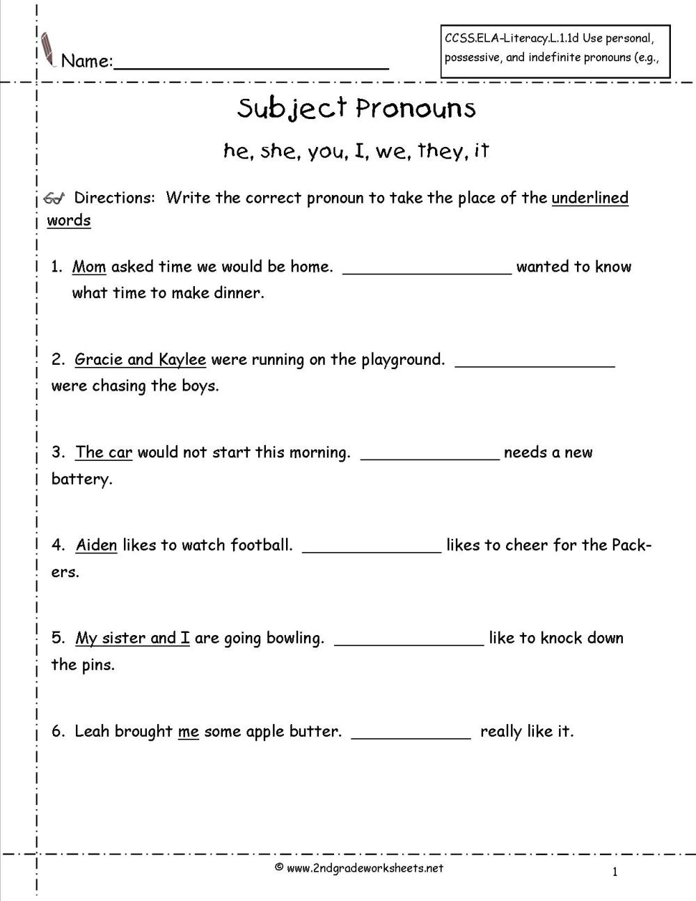 medium resolution of Pronouns Worksheets For Grade 1   Printable Worksheets and Activities for  Teachers