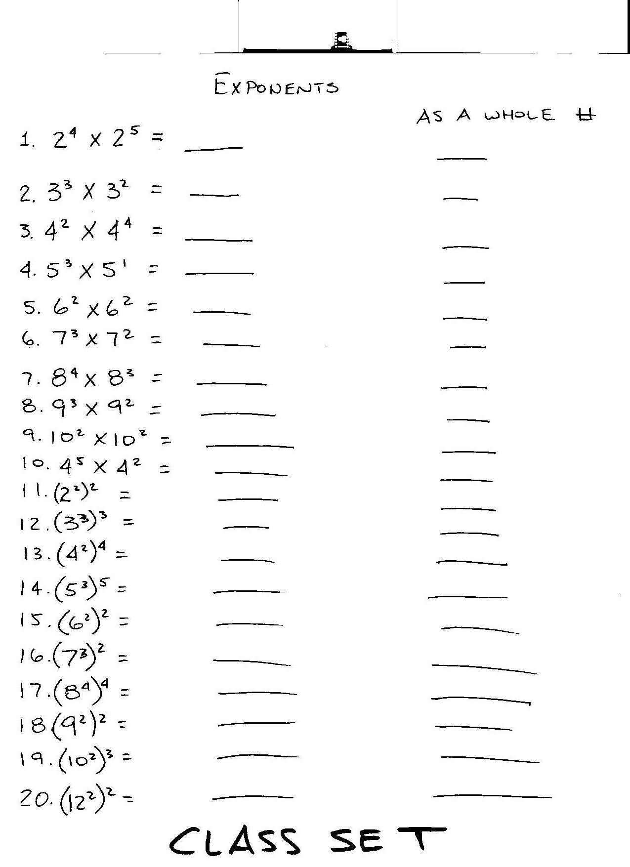 10 Best Images Of Exponents Rules Worksheet