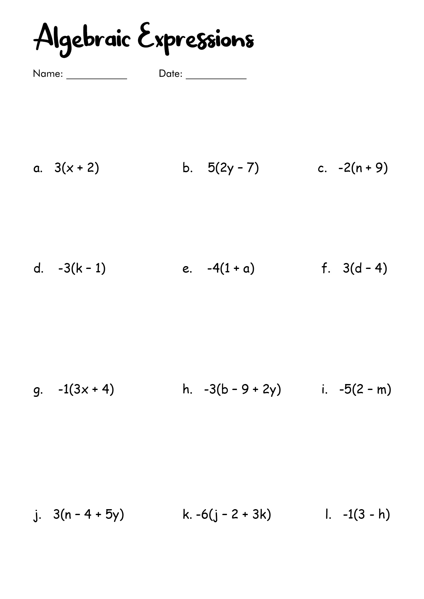 Algebra Simplify Expresions Fraction Worksheet