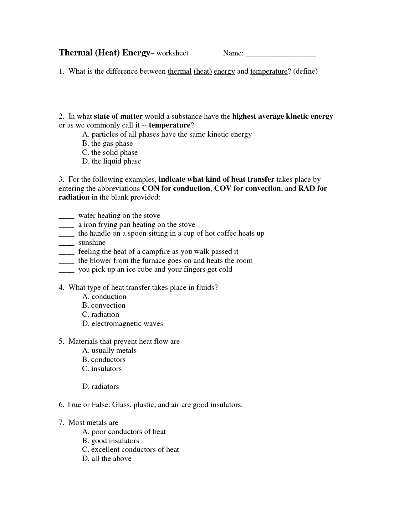 33 Thermal Energy Temperature And Heat Worksheet Answers