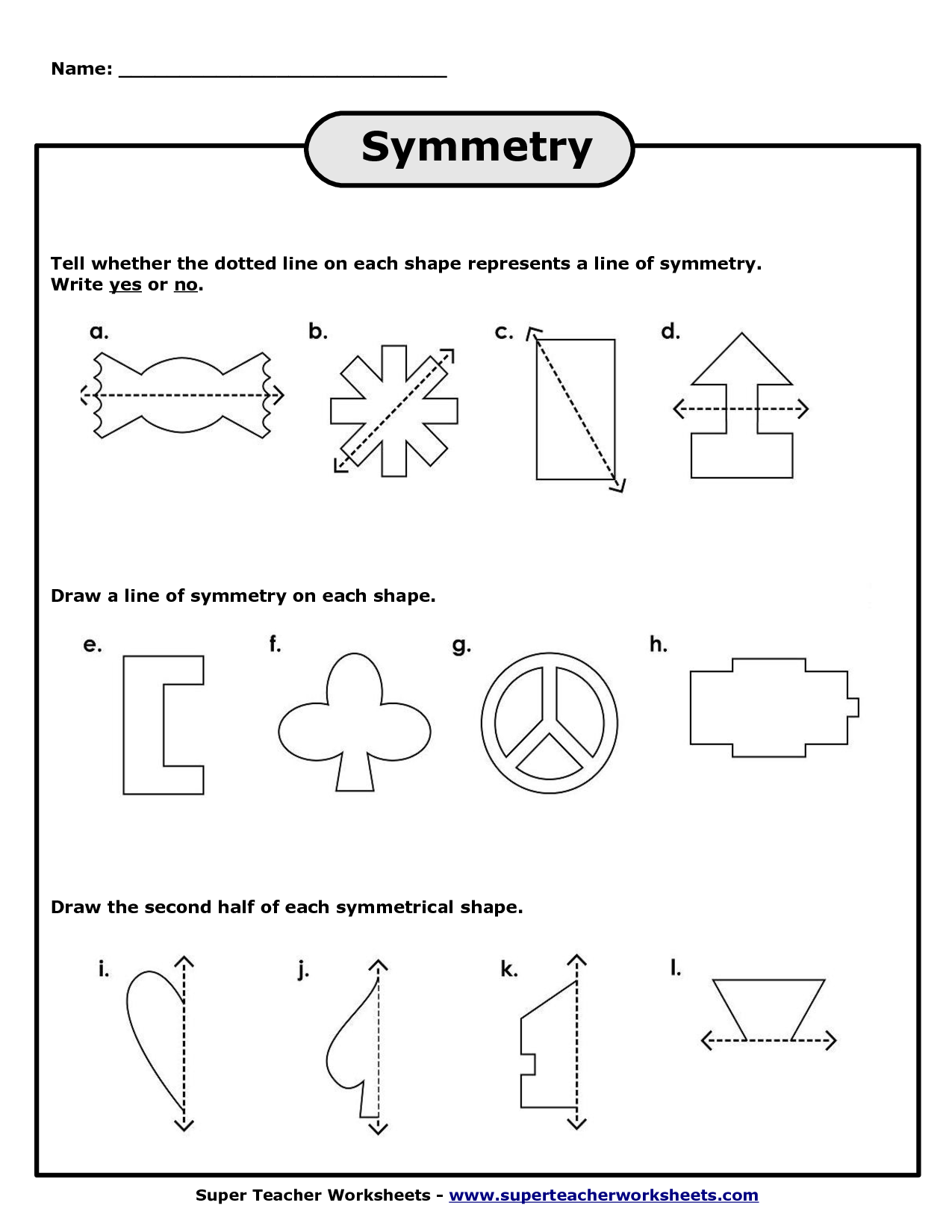 Super Teacher Worksheet Symmetry | Printable Worksheets ...