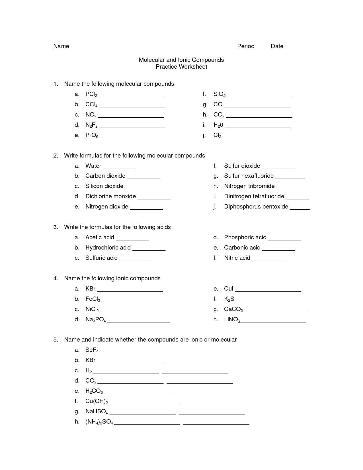 14 Best Images Of Naming Chemical Compounds Worksheet