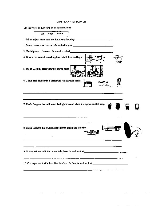 13 Best Images Of Science Worksheets Light And Sound