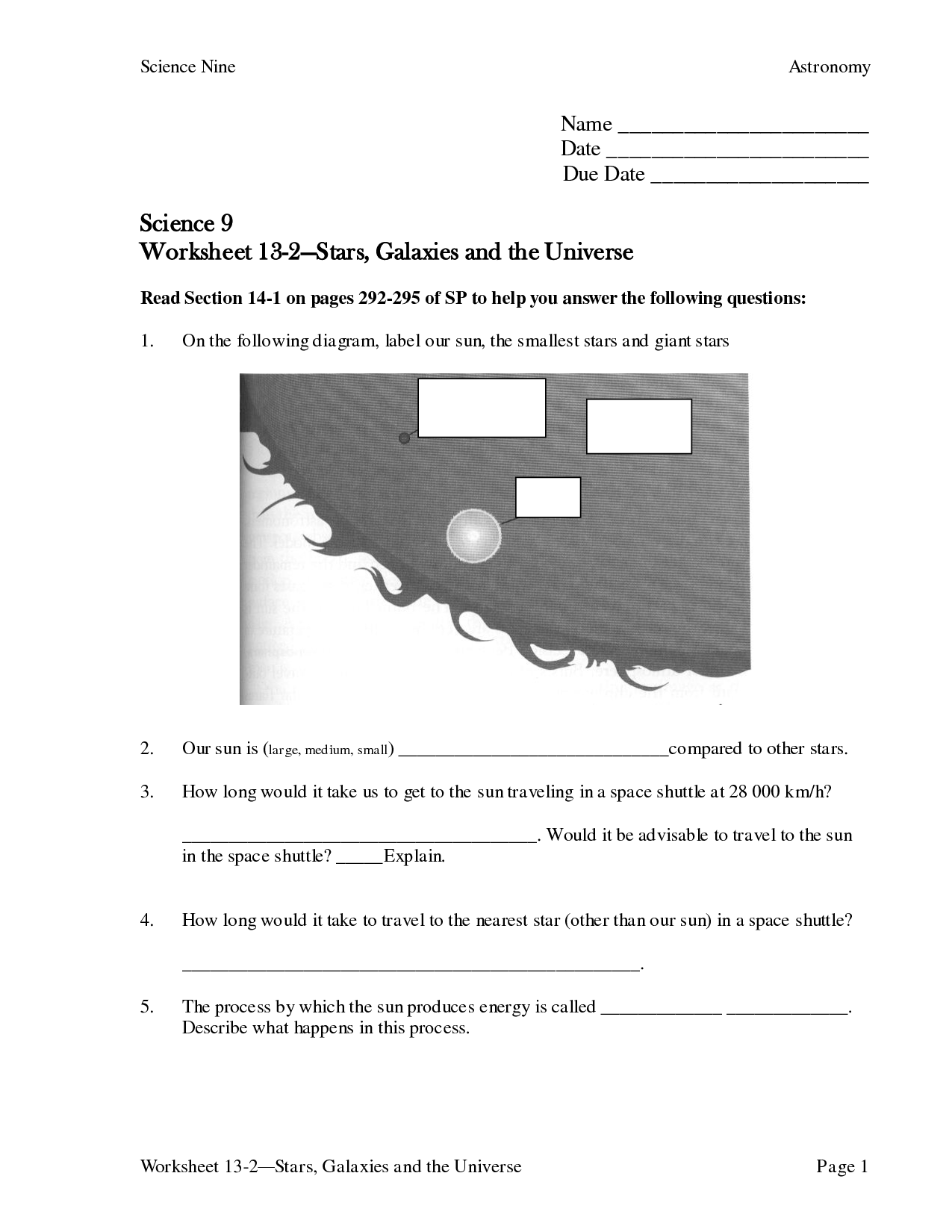 13 Best Images Of Stars And Galaxies Worksheet Answers