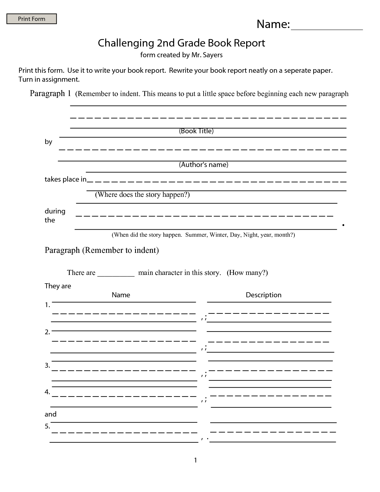 Book Report Worksheet 5th Grade