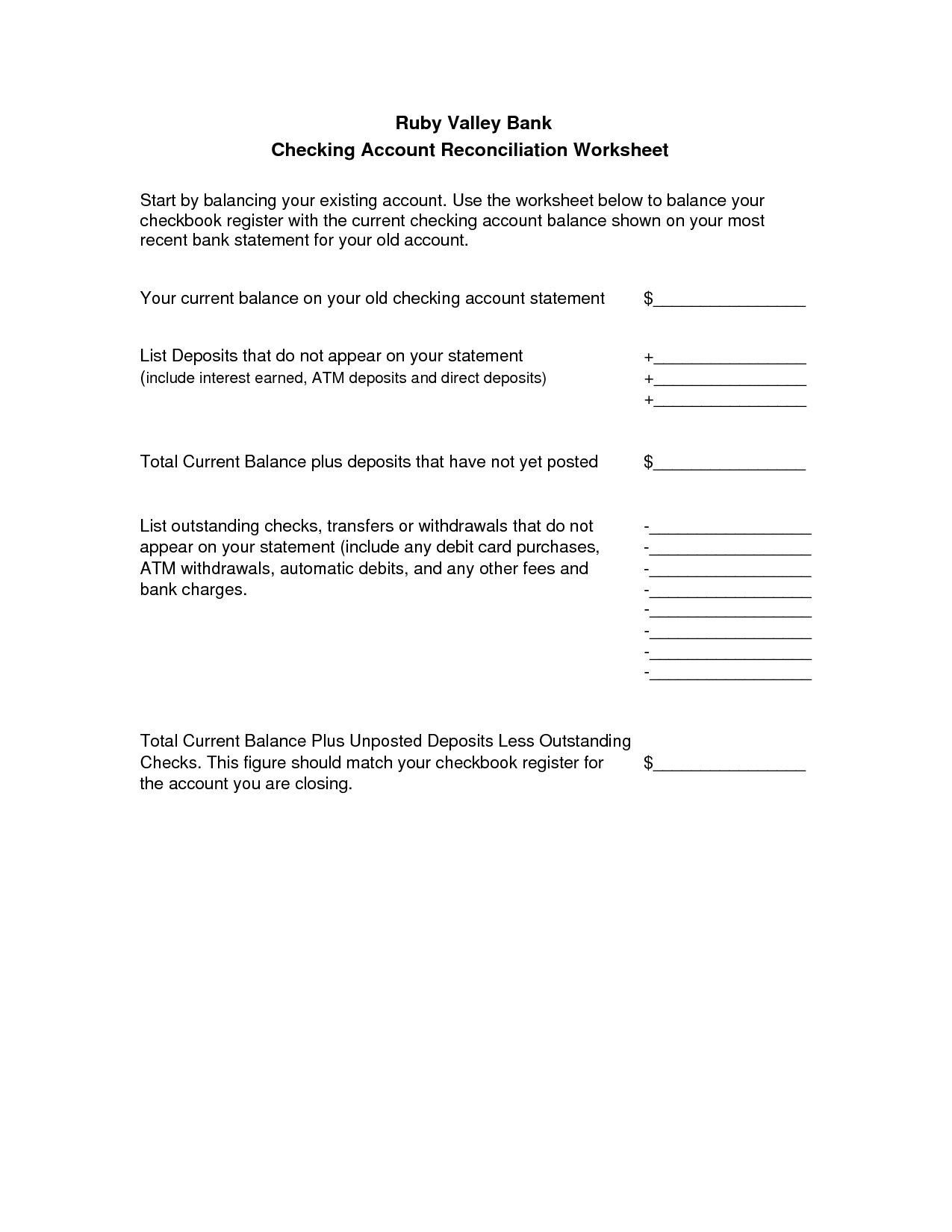 12 Best Images Of Printable Banking Worksheets