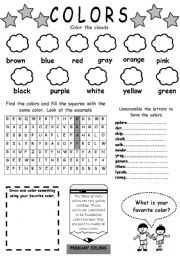 16 Best Images of Beginner English Worksheets Colors