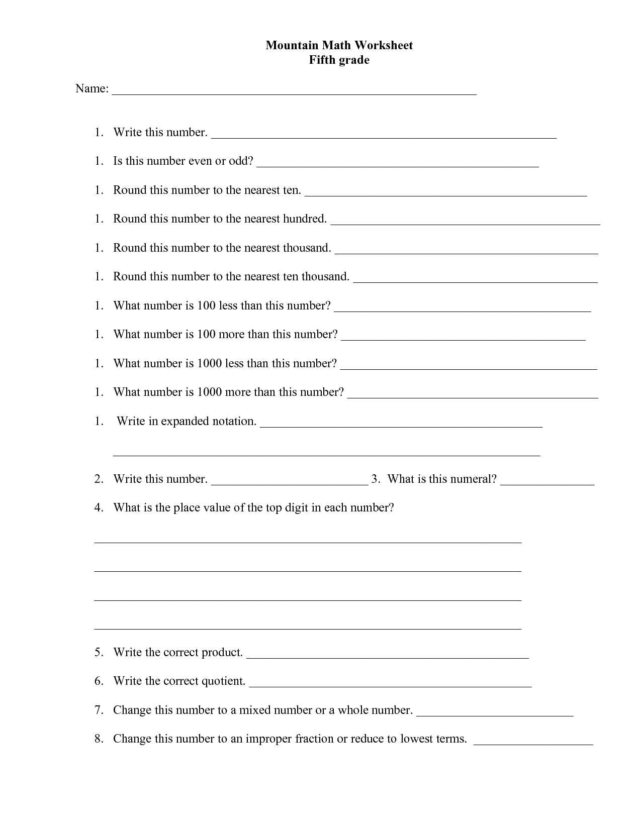 Math Worksheet For Grade 5 Igcse