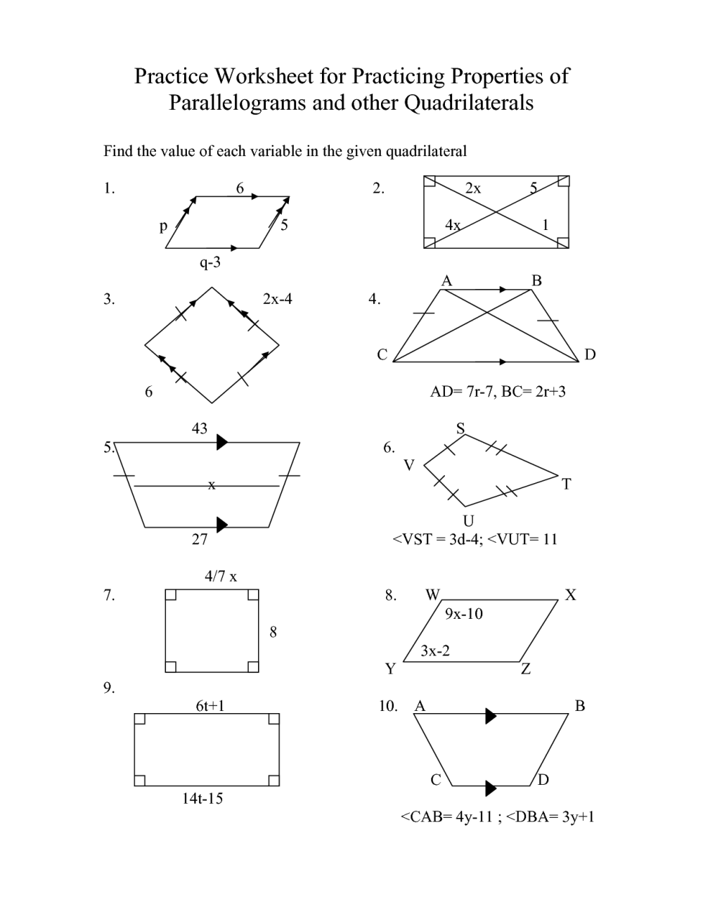 medium resolution of Special Parallelograms Worksheet   Printable Worksheets and Activities for  Teachers