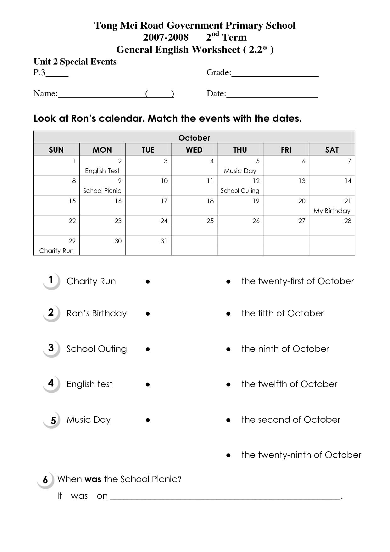 12 Best Images Of Calendar Worksheets Grade 2