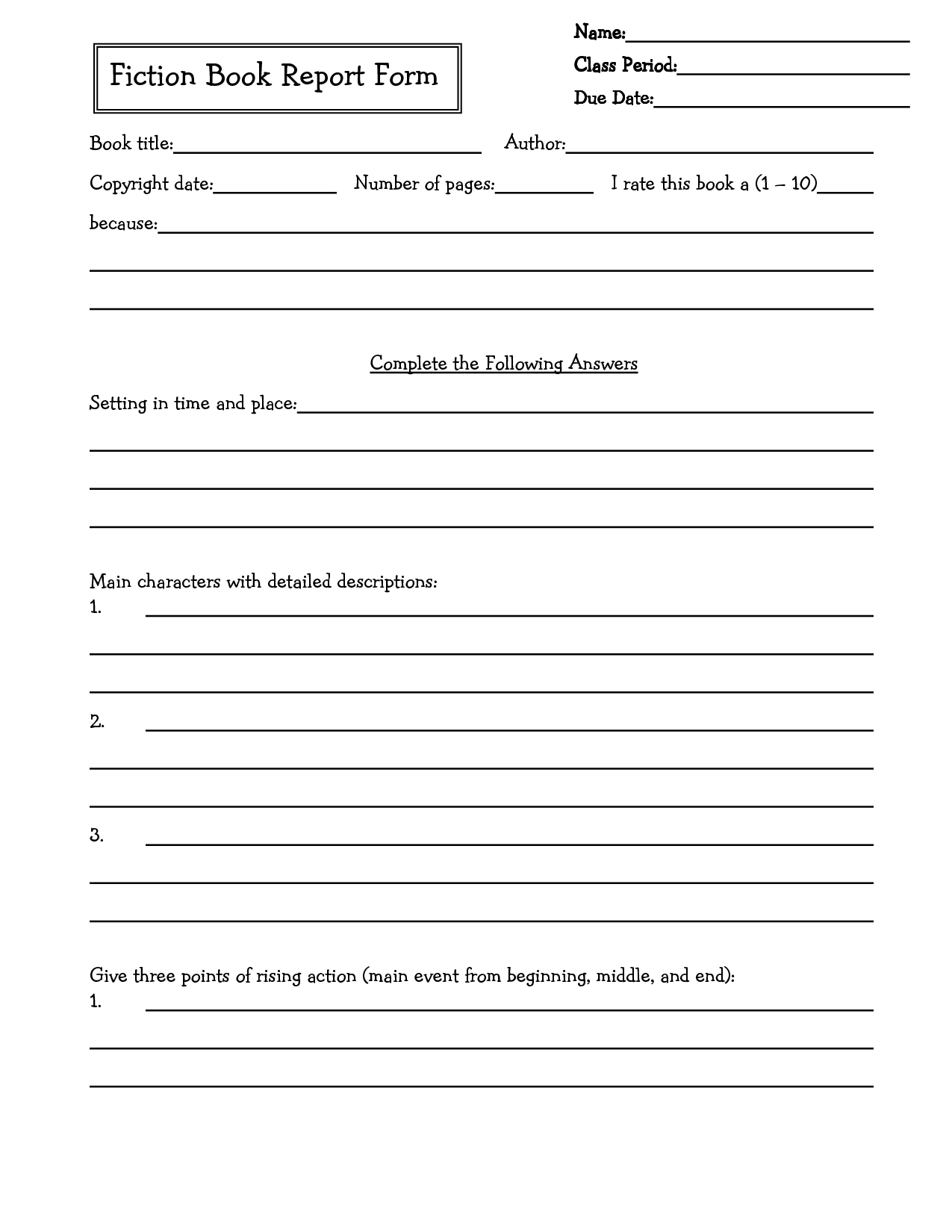 Summary Worksheet 4th Grade
