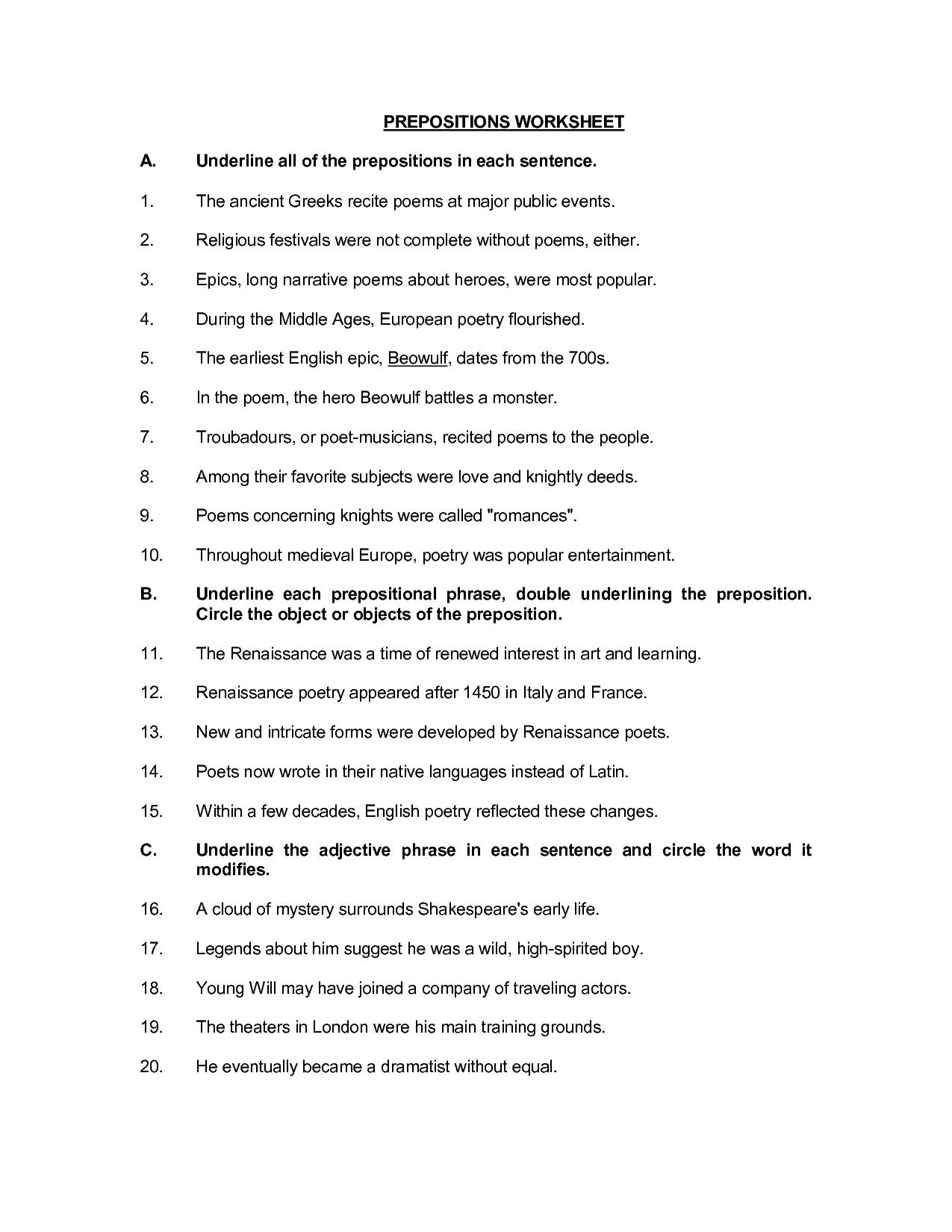 33 Prepositional Phrases Worksheet 5th Grade