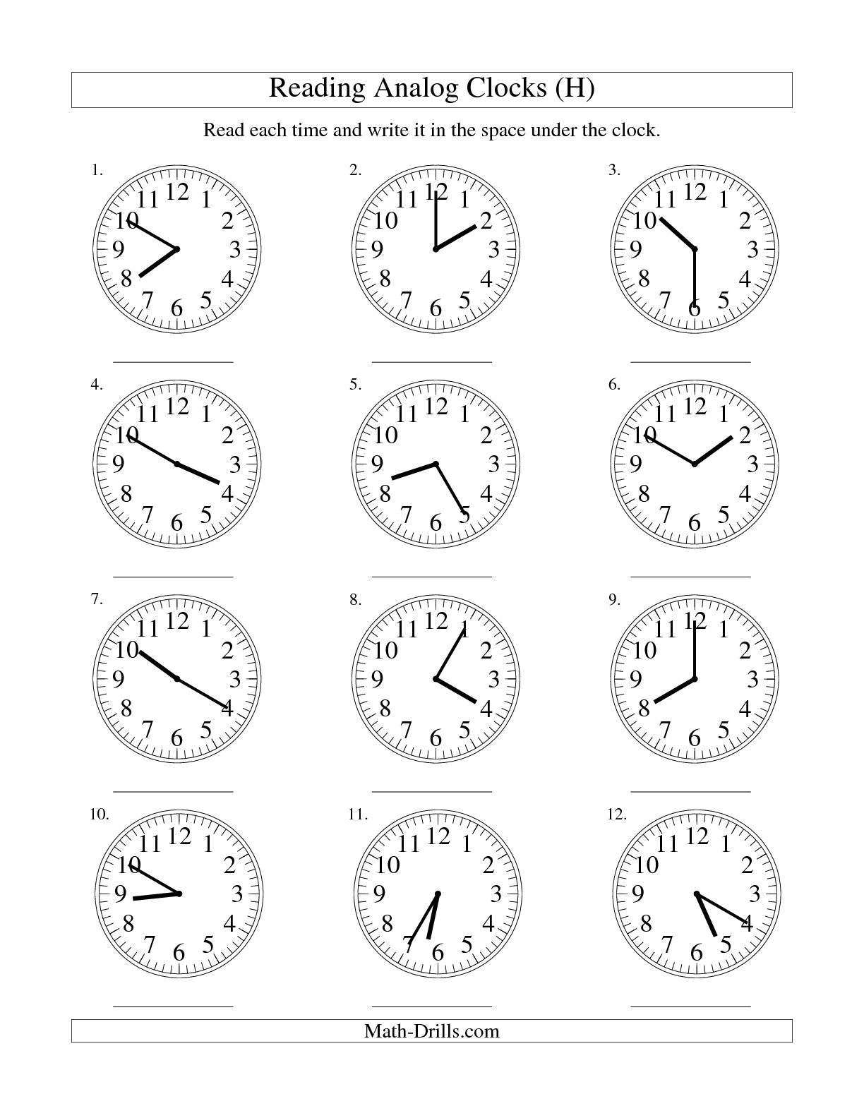 14 Best Images Of Clock Worksheet To 5 Minutes