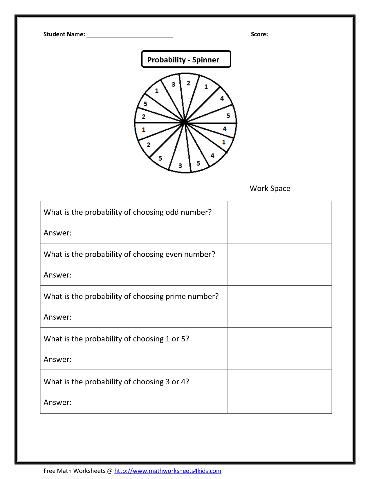 14 Best Images Of Probability Worksheet 7th Grade Practice