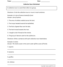 Collective Nouns Worksheets Middle School   Printable Worksheets and  Activities for Teachers [ 2200 x 1700 Pixel ]