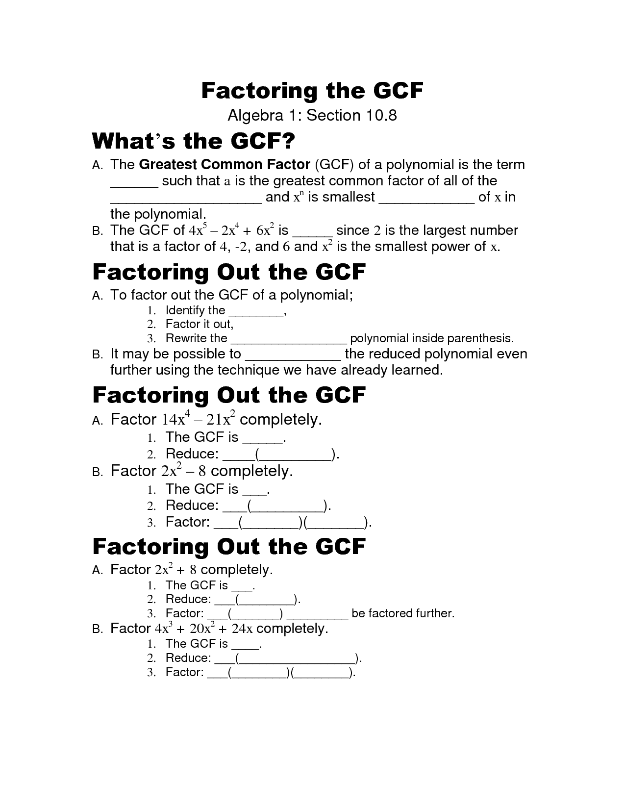 Greatest Common Factor Polynomials Worksheet