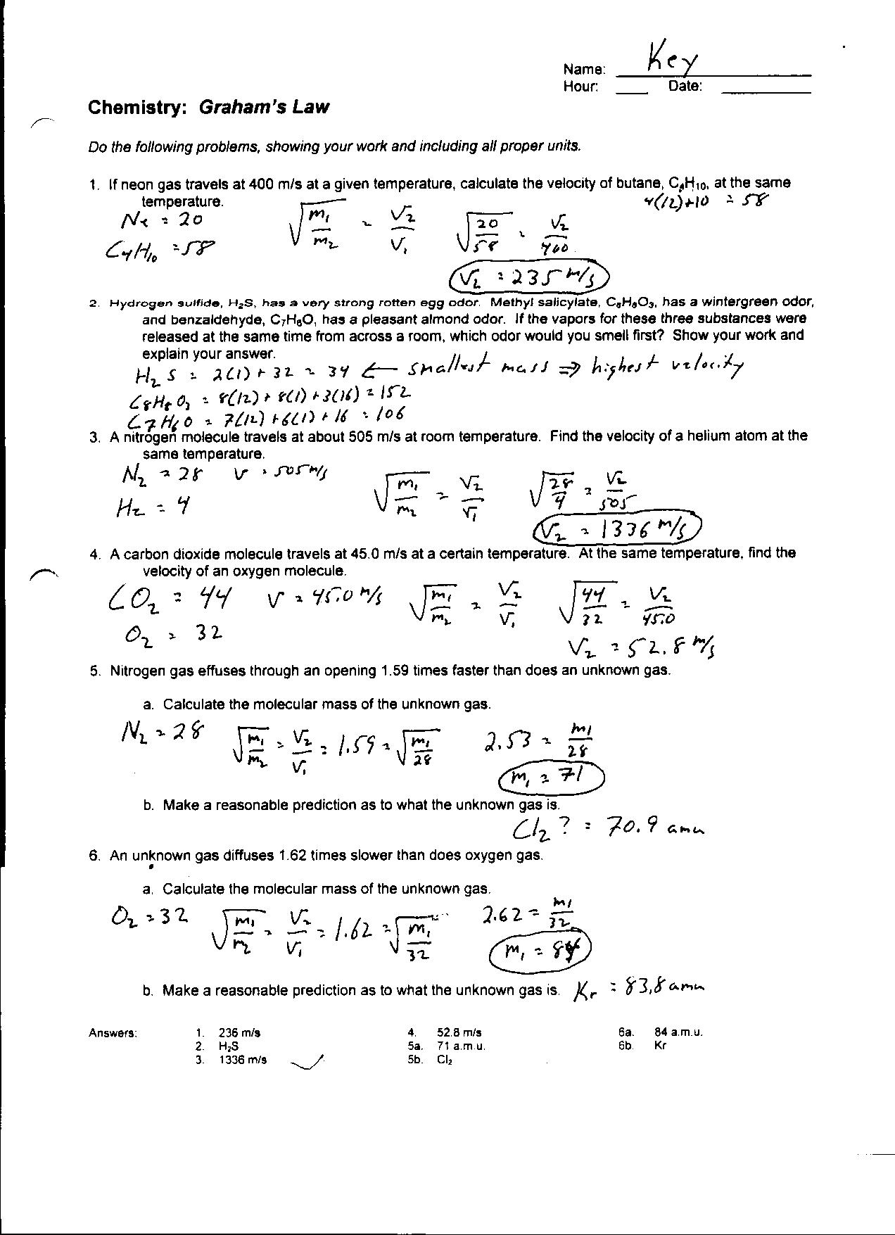 14 Best Images Of Boyle S Law Worksheet Answers