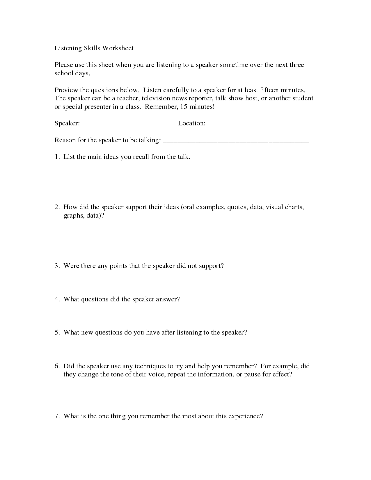 17 Best Images Of Active Listening Activities Worksheets
