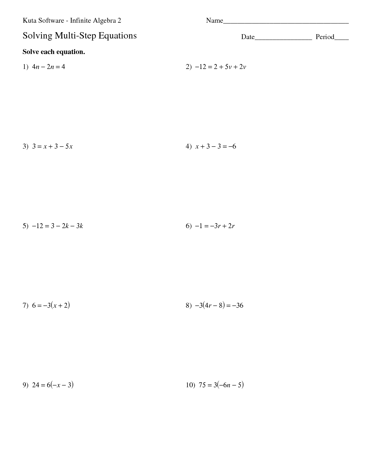 Multi Step Equations Math Worksheet