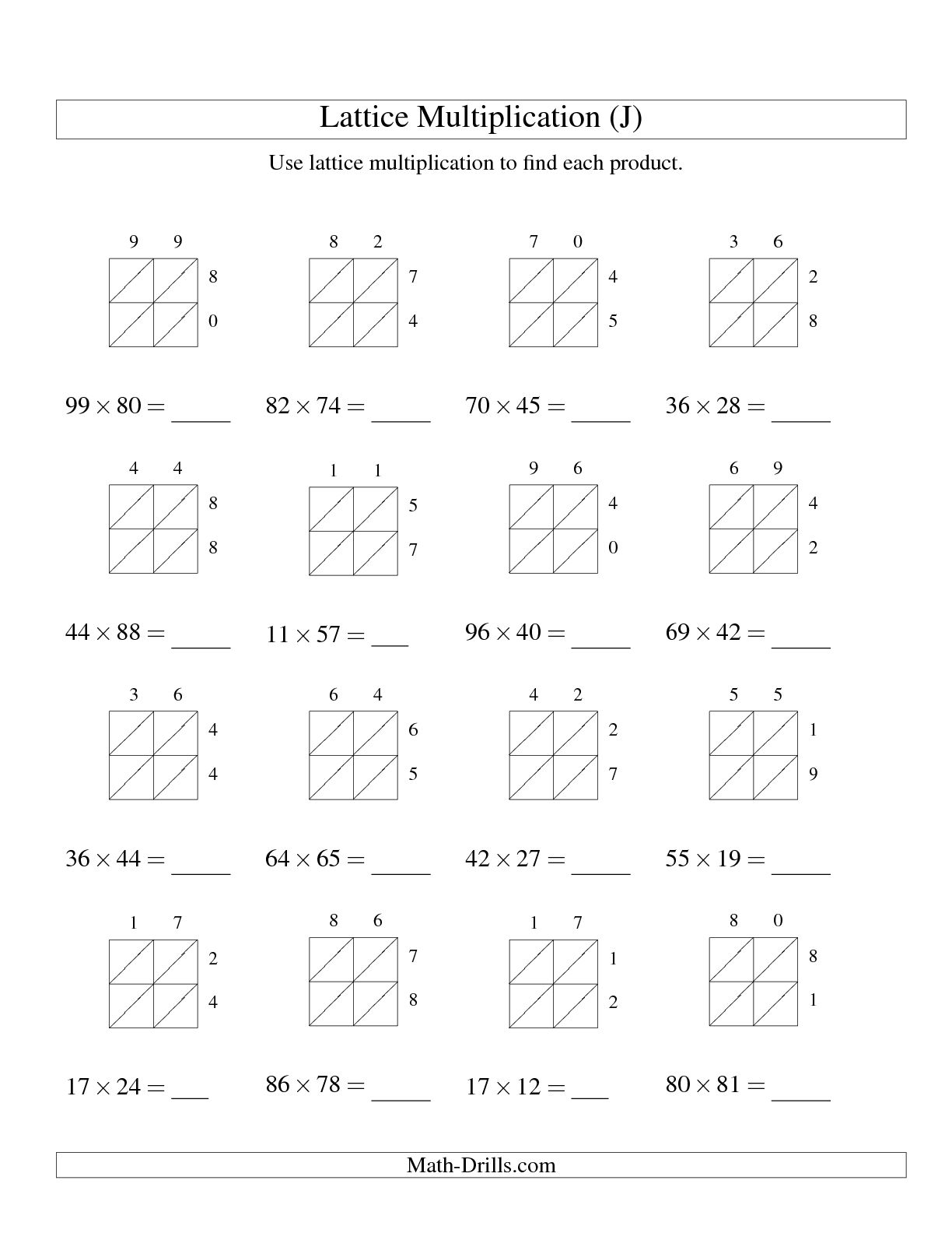12 Best Images Of Lattice Multiplication Worksheets