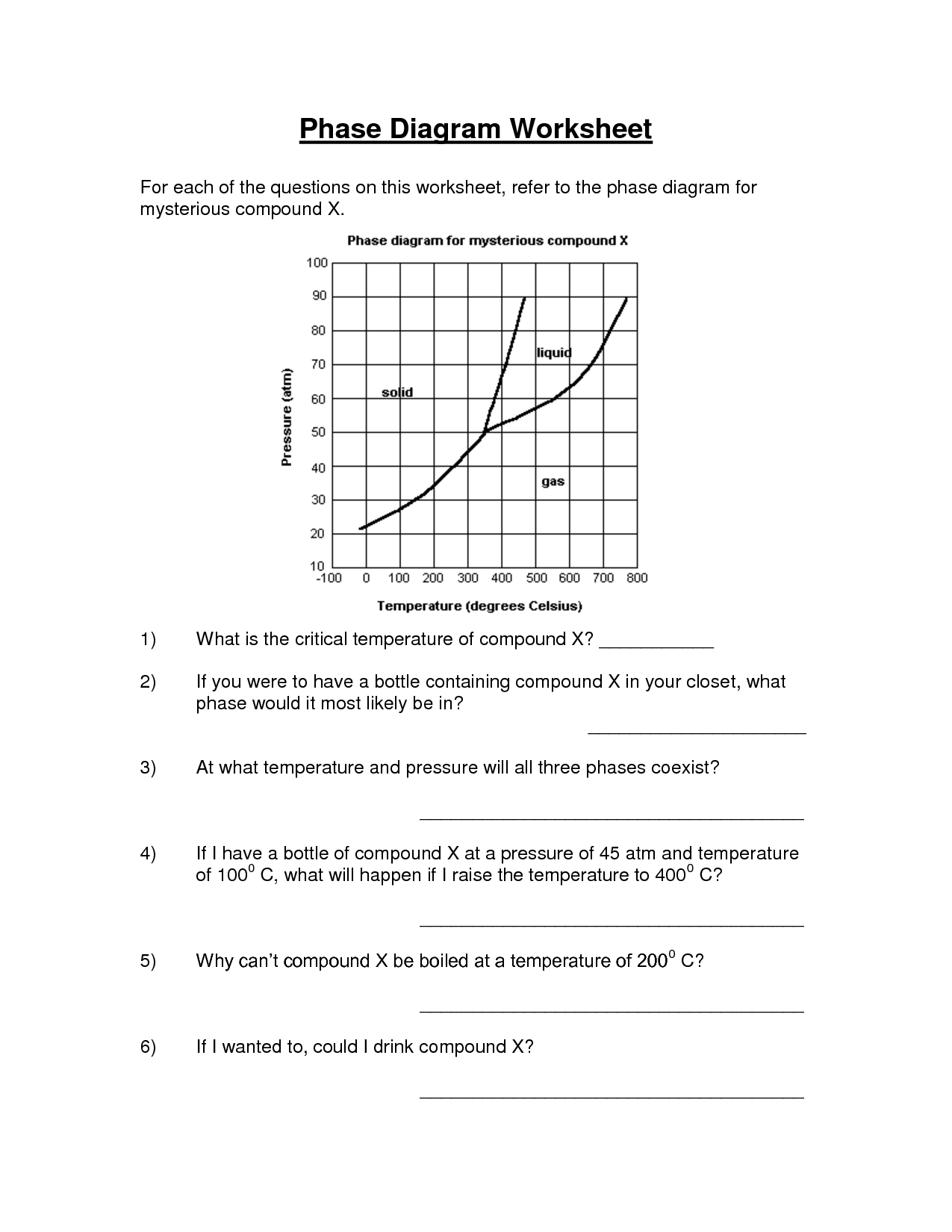 Phase Change Worksheet Answers