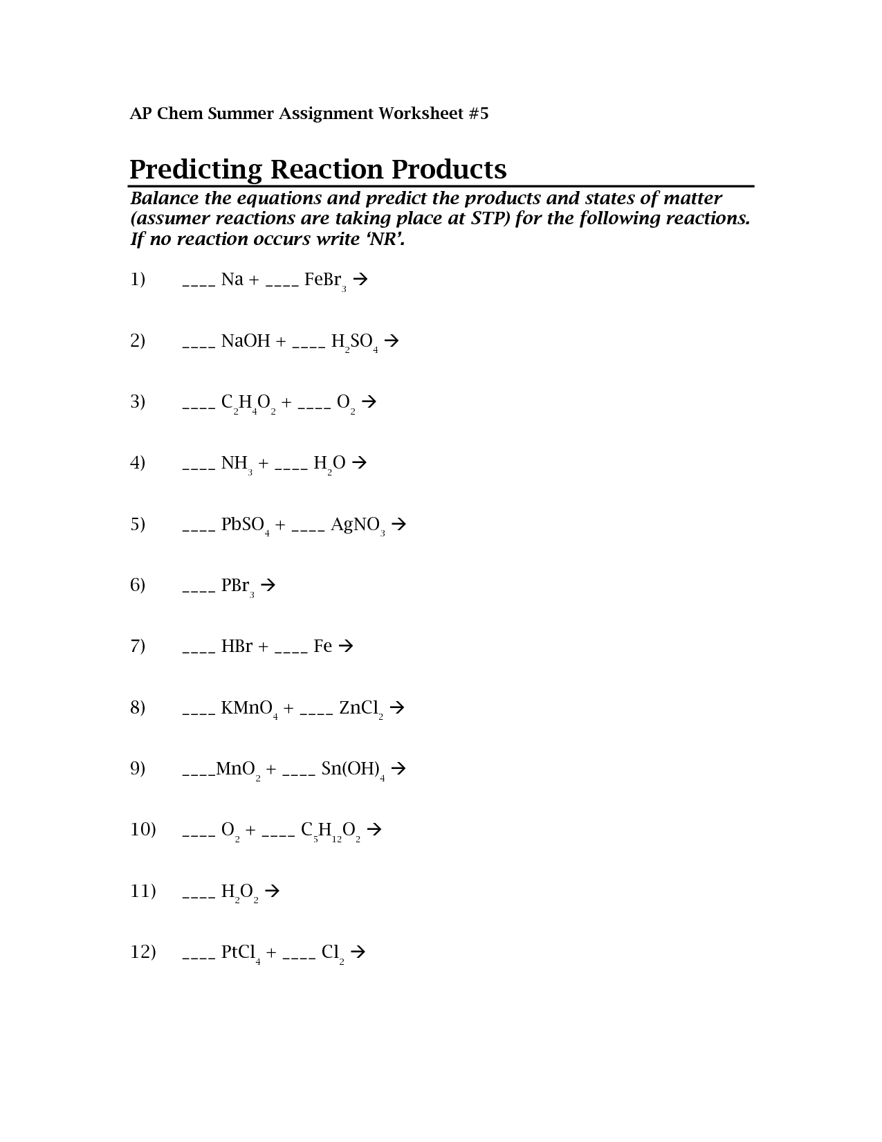 28 Predicting Products Worksheet Answers