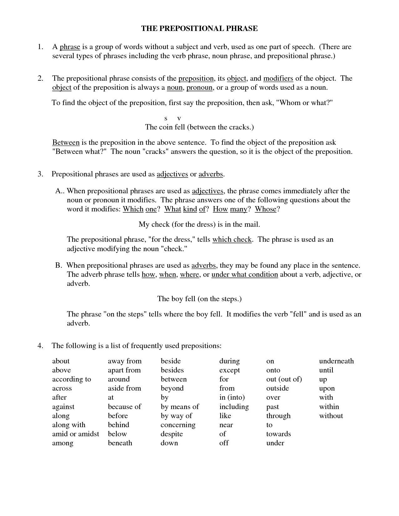 14 Best Images Of Prepositional Phrases Worksheets