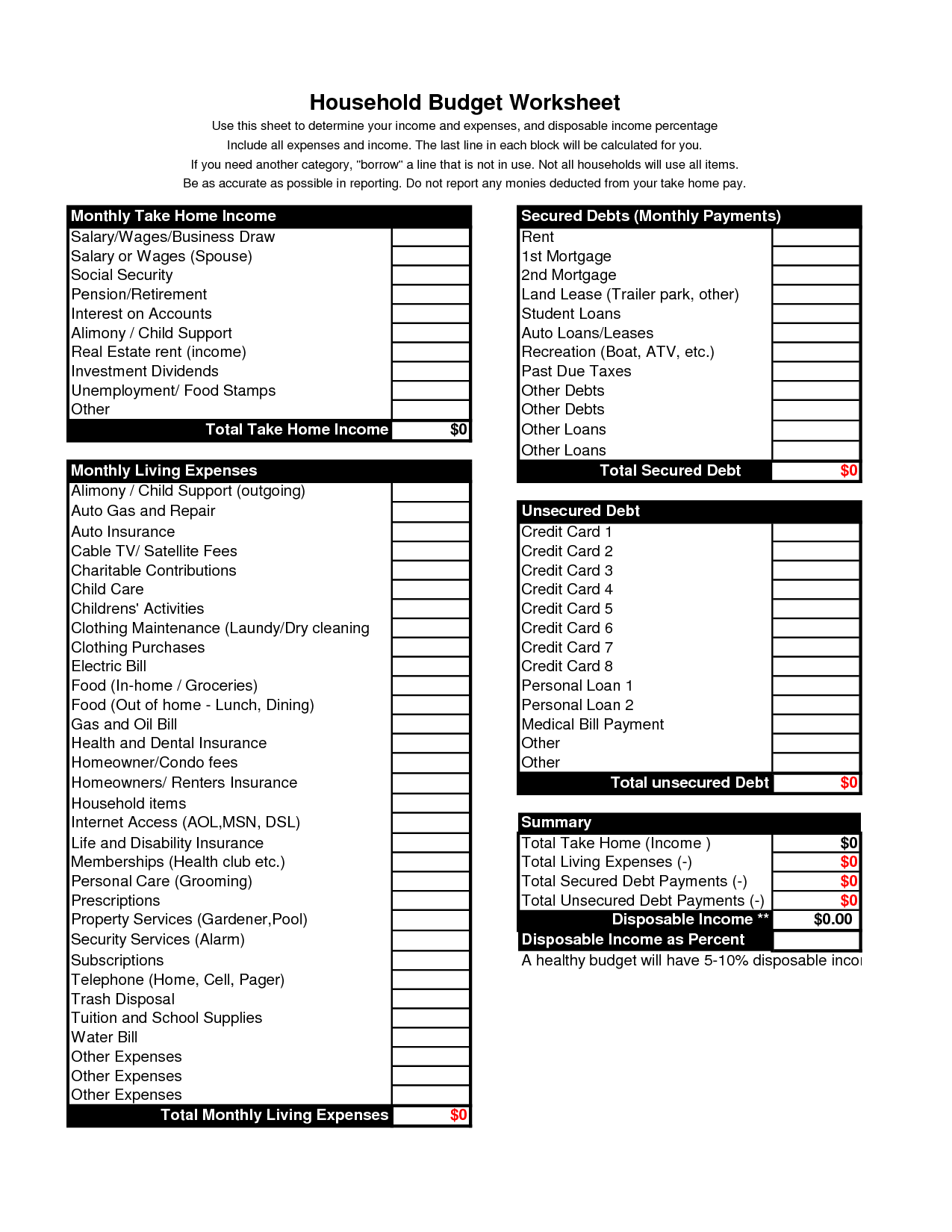 13 Best Images Of Monthly Household Expenses Worksheet