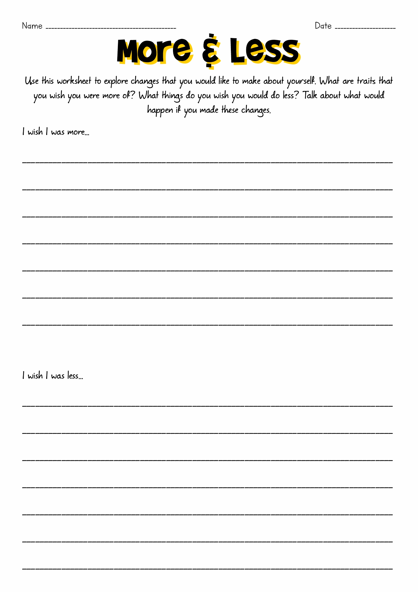 Improving Self Worth Worksheets