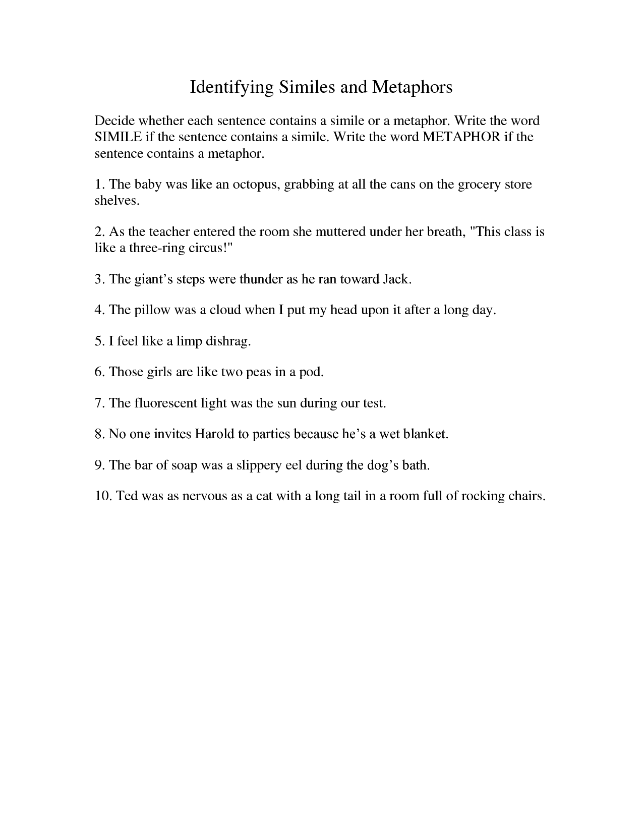 15 Best Images Of Personification Worksheets For Students