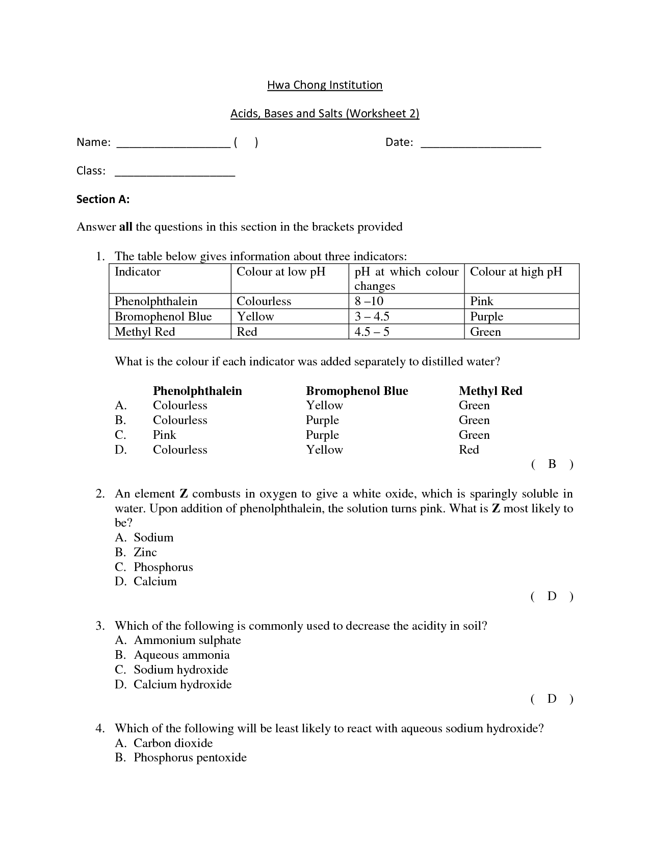 Ph Scale Lessons Worksheet Printable Worksheets And
