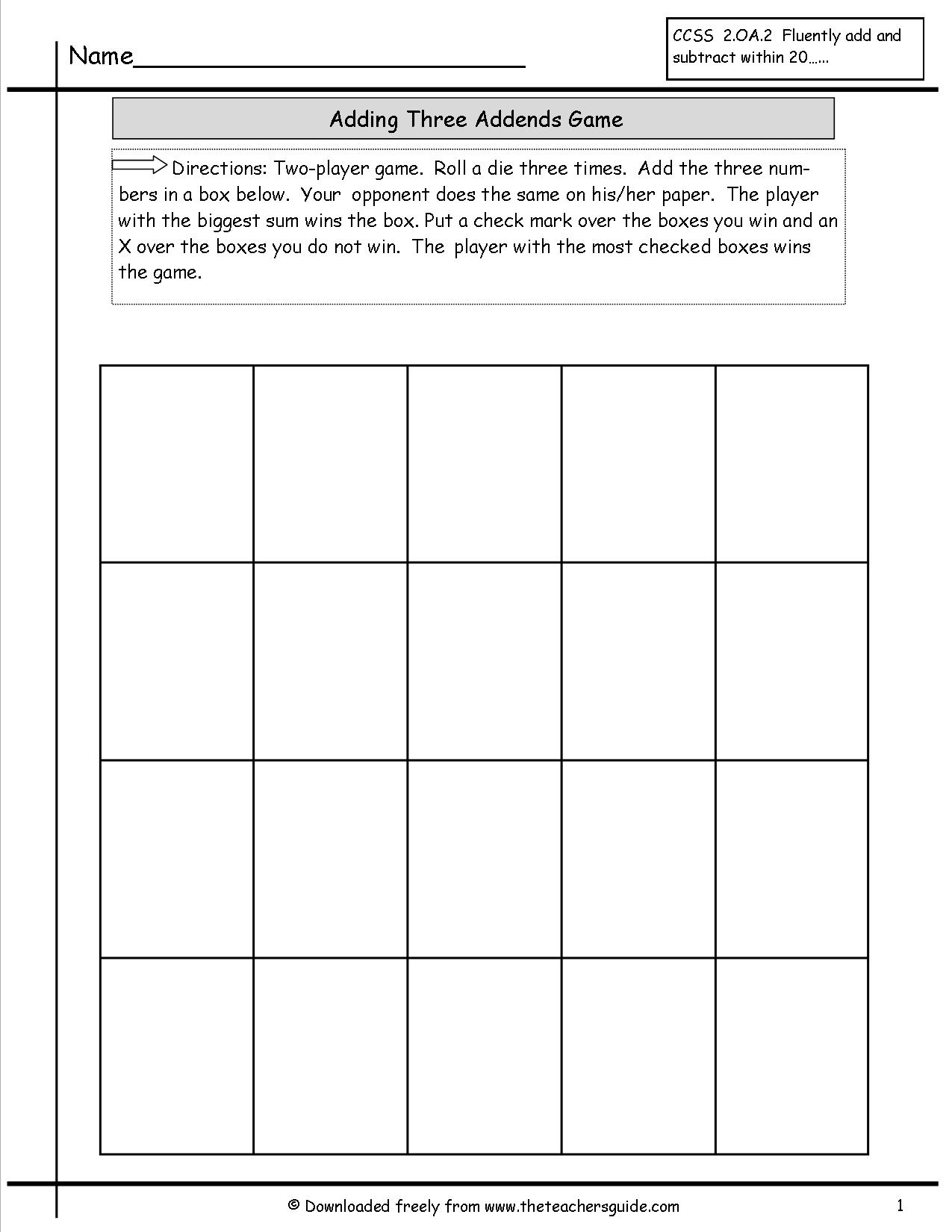 15 Best Images Of Dice Addition Worksheets