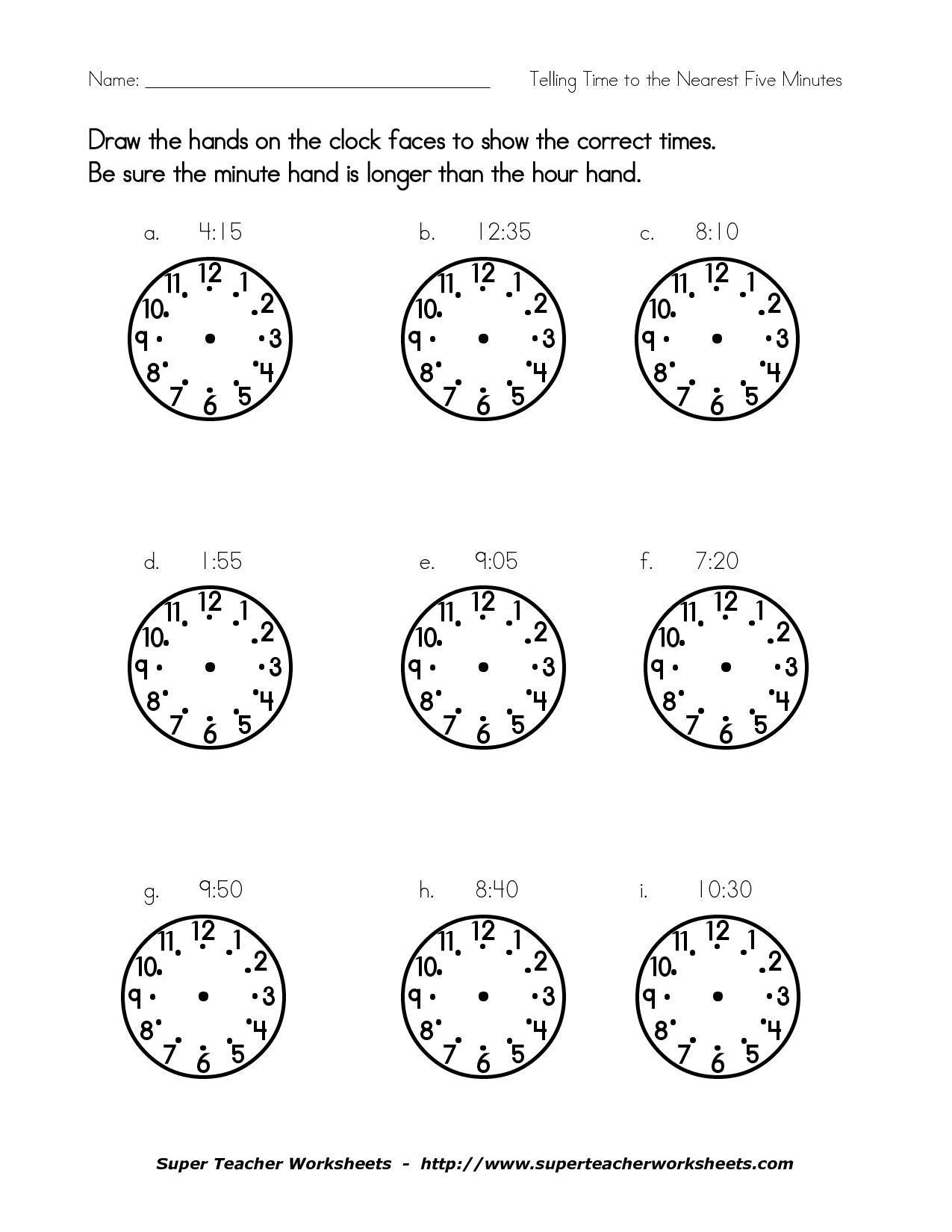 12 Best Images Of Blankog Clock Worksheet