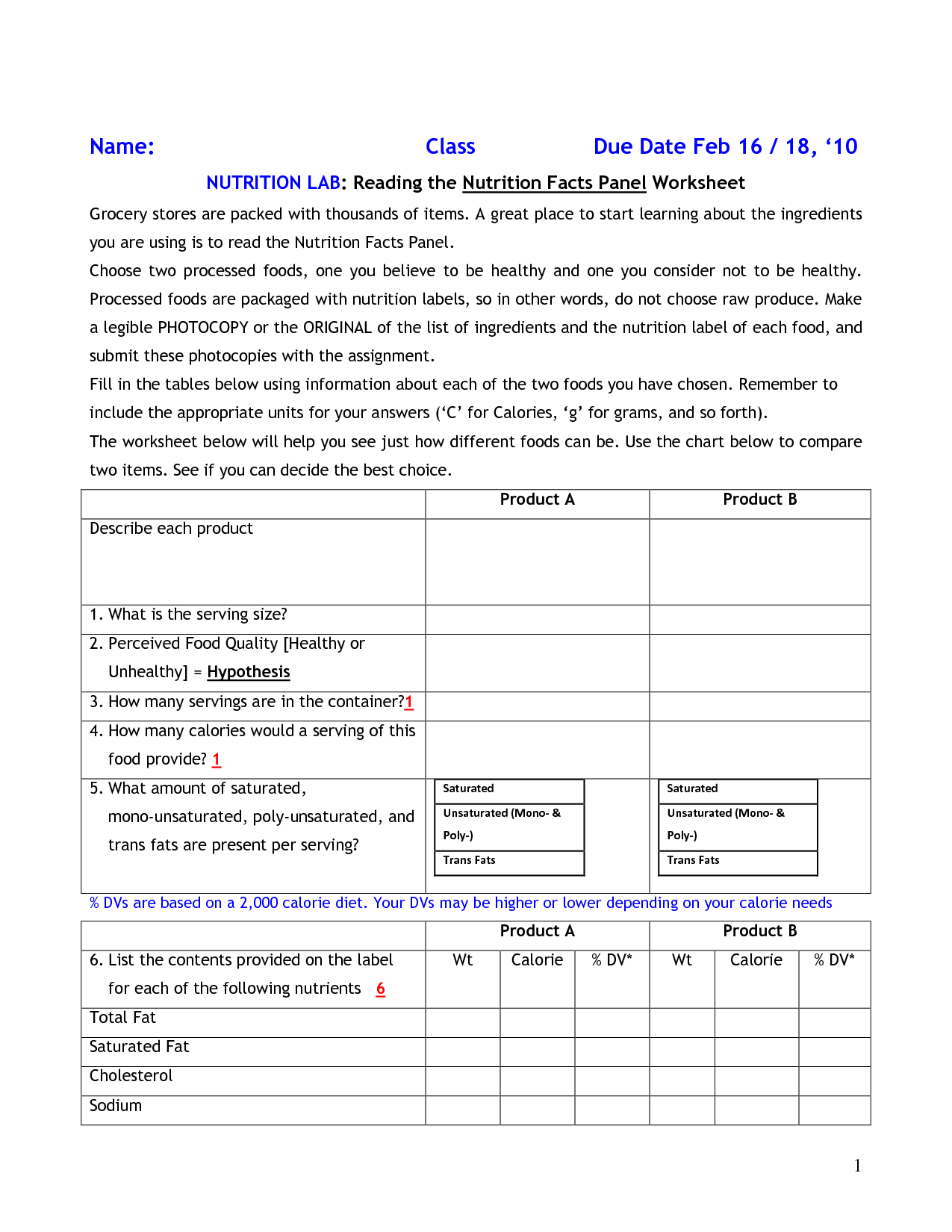 Food Labels Student Worksheet