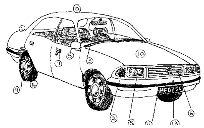 car damage inspection diagram wiring for driving lights 14 best images of parts a worksheet - english vocabulary, ...