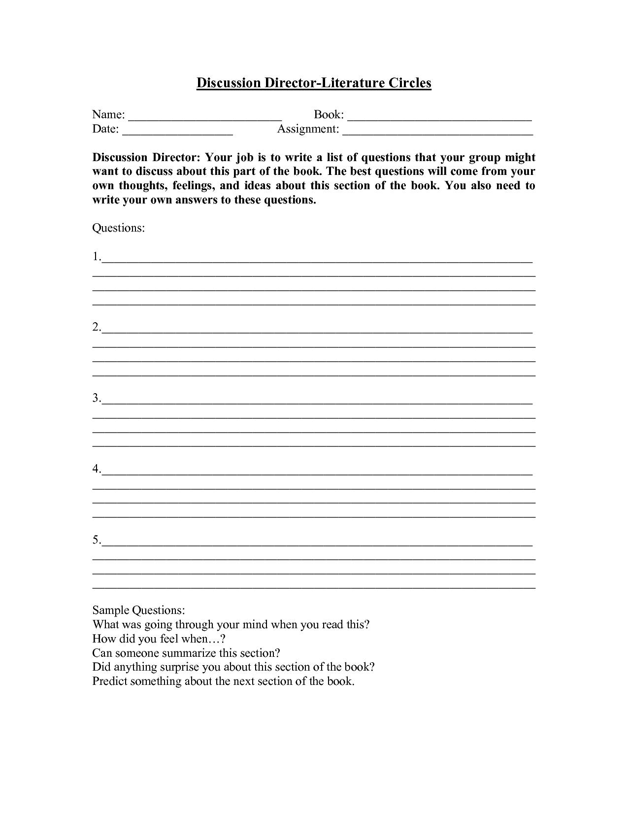 16 Best Images Of Middle School Literature Circle Worksheets