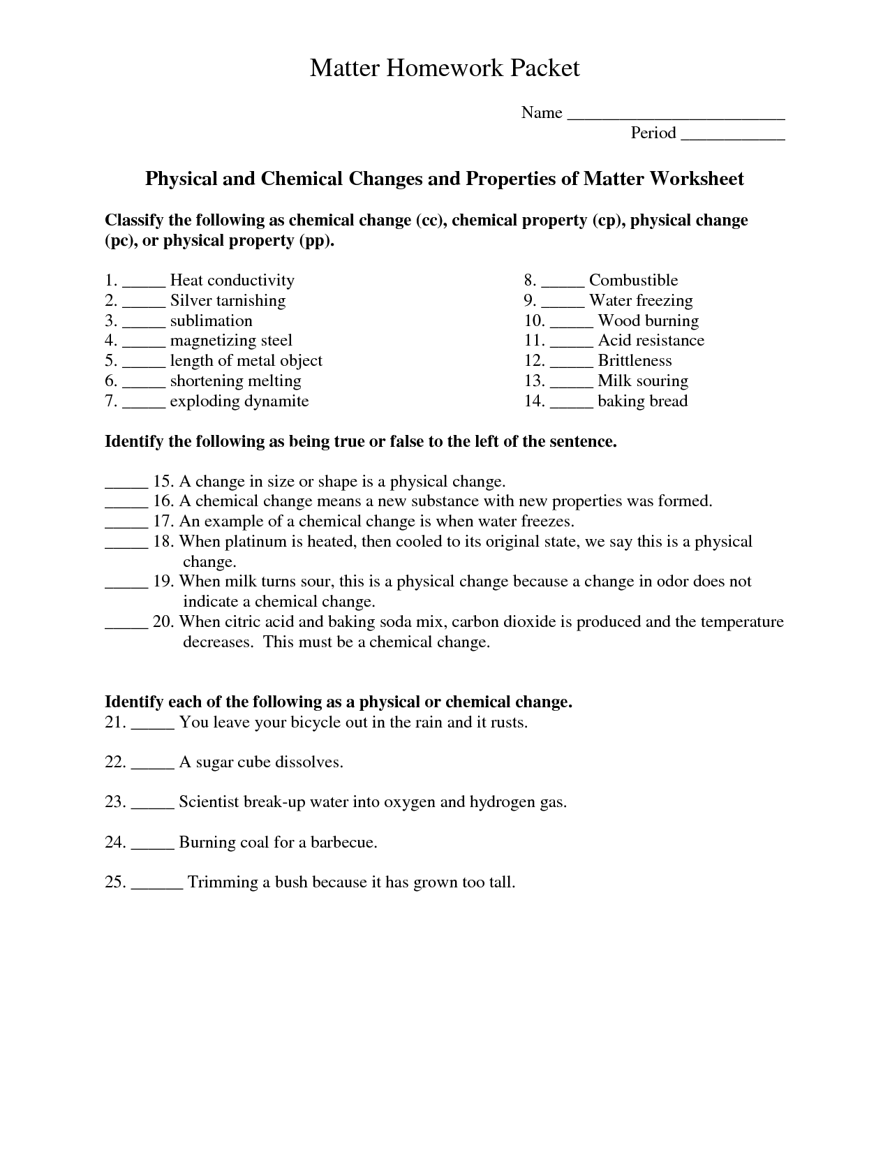 Section 1 Composition Of Matter Worksheet Answers