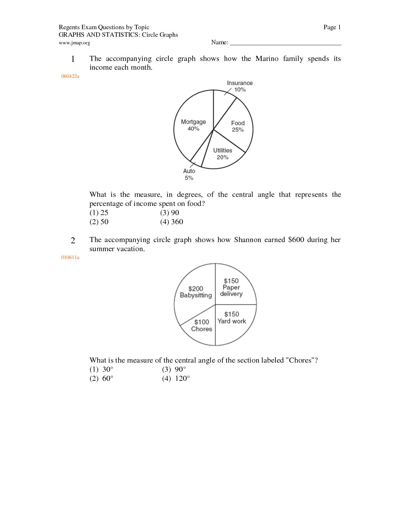 Bar Graph And Circle Graph Worksheet