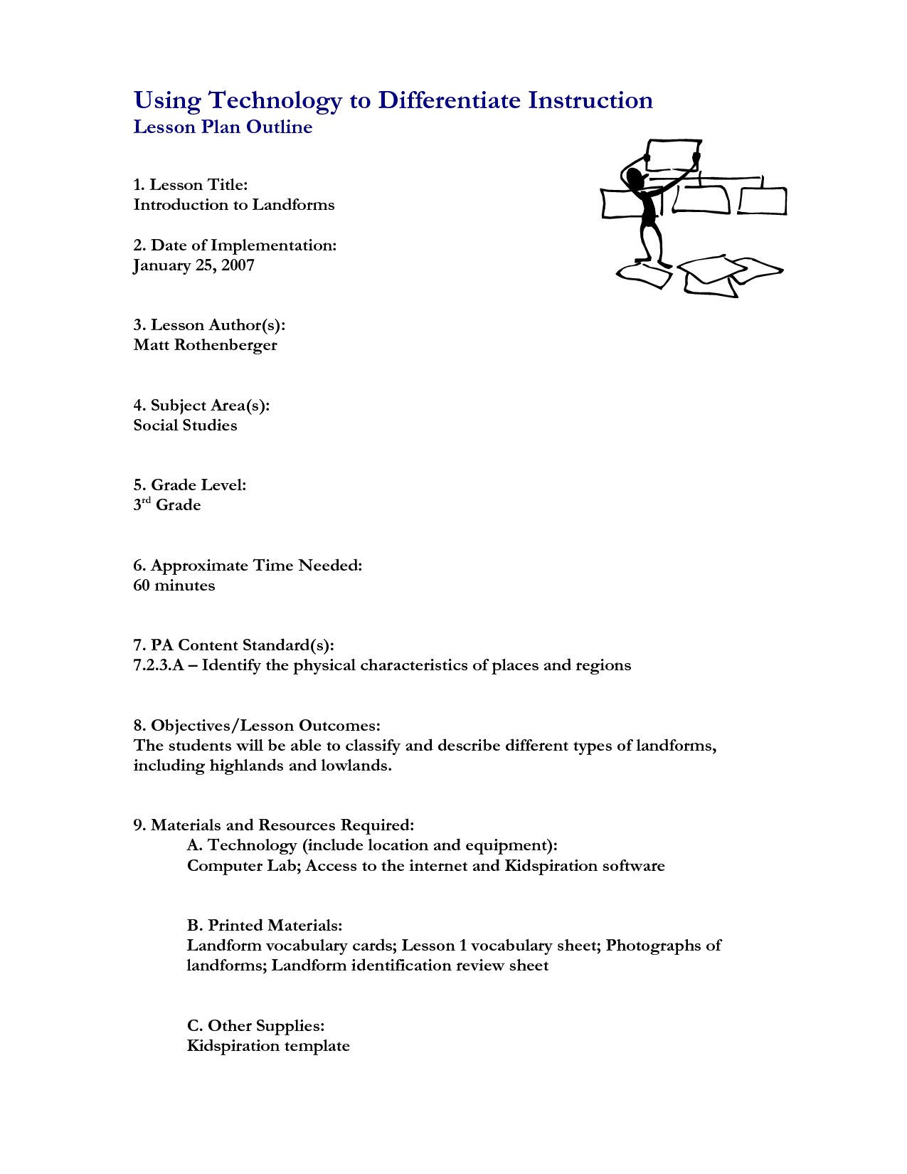 Landform Worksheet For 4th Grade