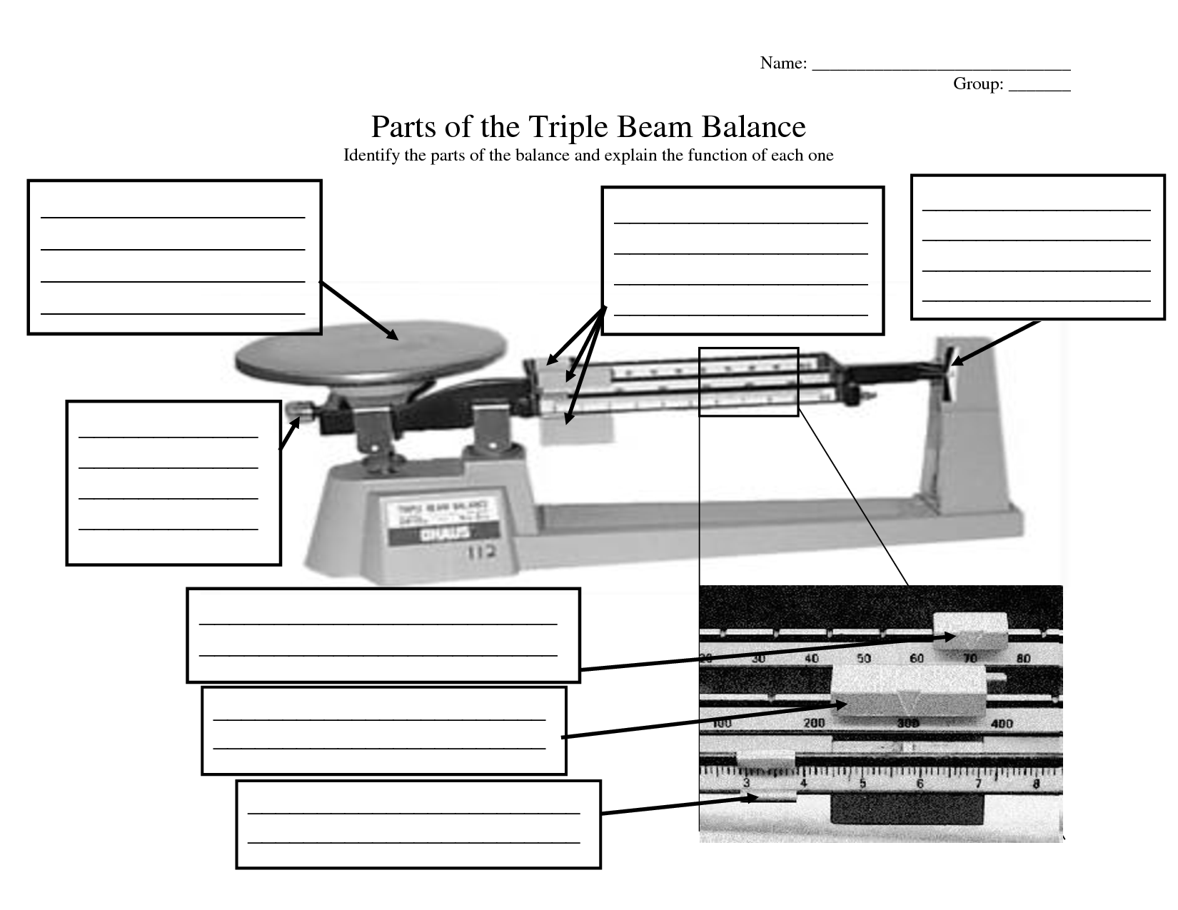 Reading Triple Beam Balance Scale Worksheet