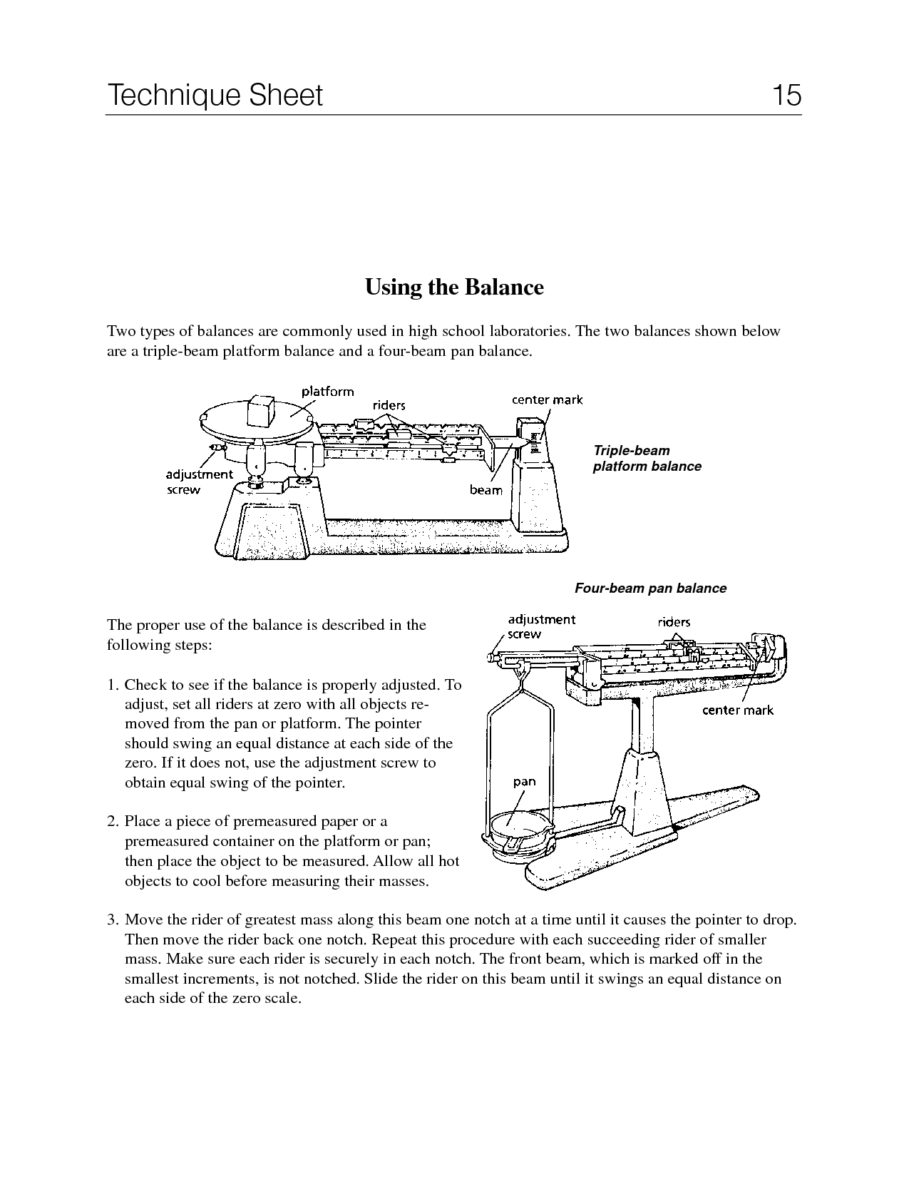 Triple Beam Balance Worksheet Identify Parts