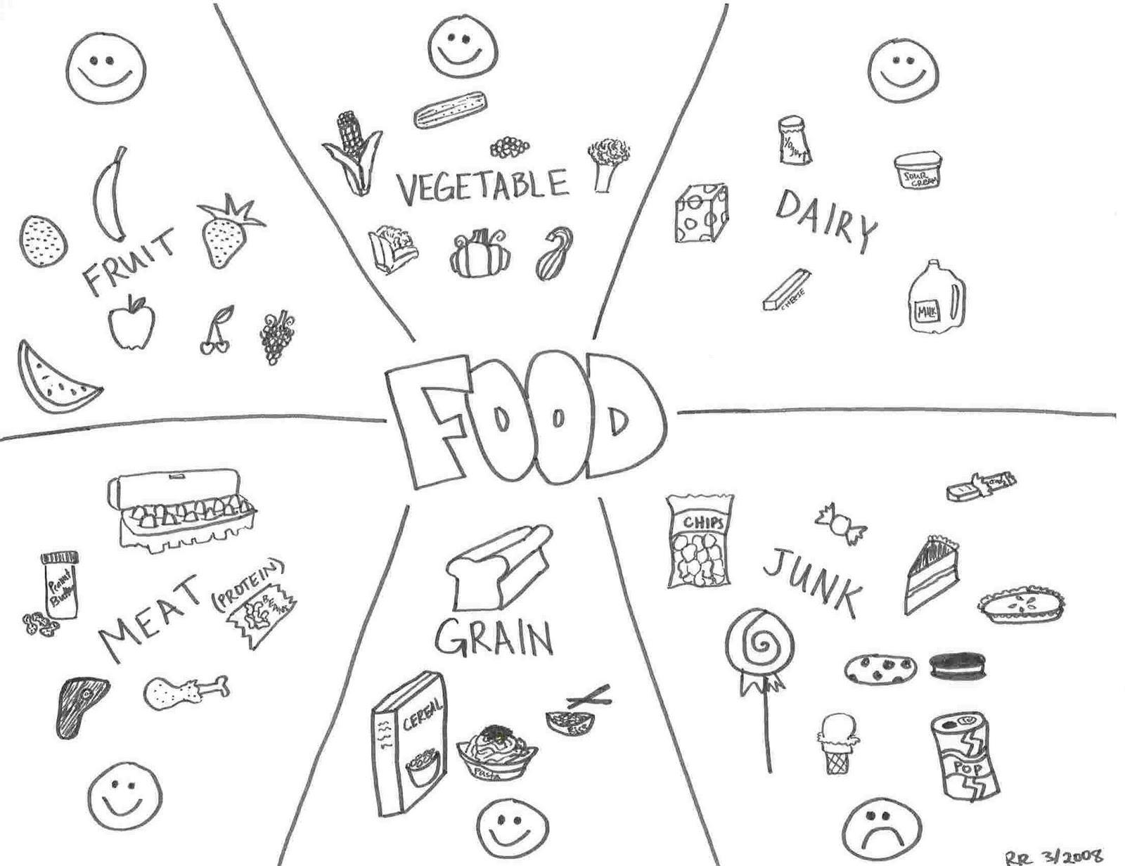 Worksheet For Preschool Food Coloring