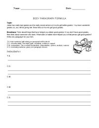 14 Best Images of Parts Of A Paragraph Worksheet ...