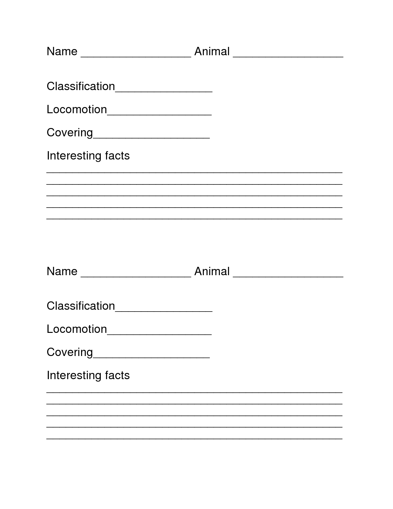 9 Best Images Of Animal Report Worksheet