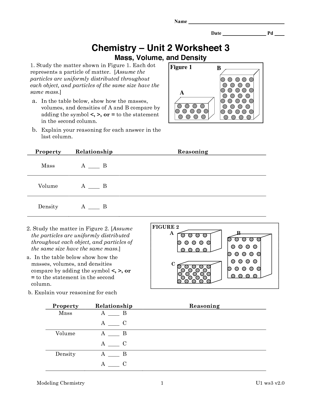 Particles In Matter Worksheet