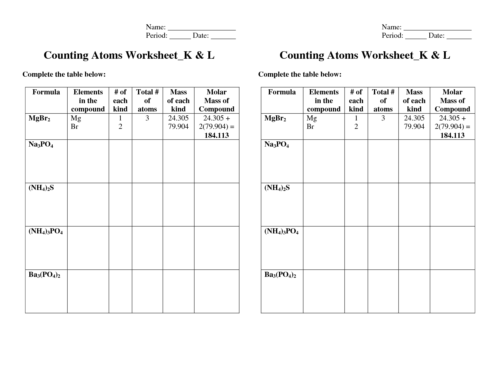 9 Best Images Of Atomic Number Practice Worksheets