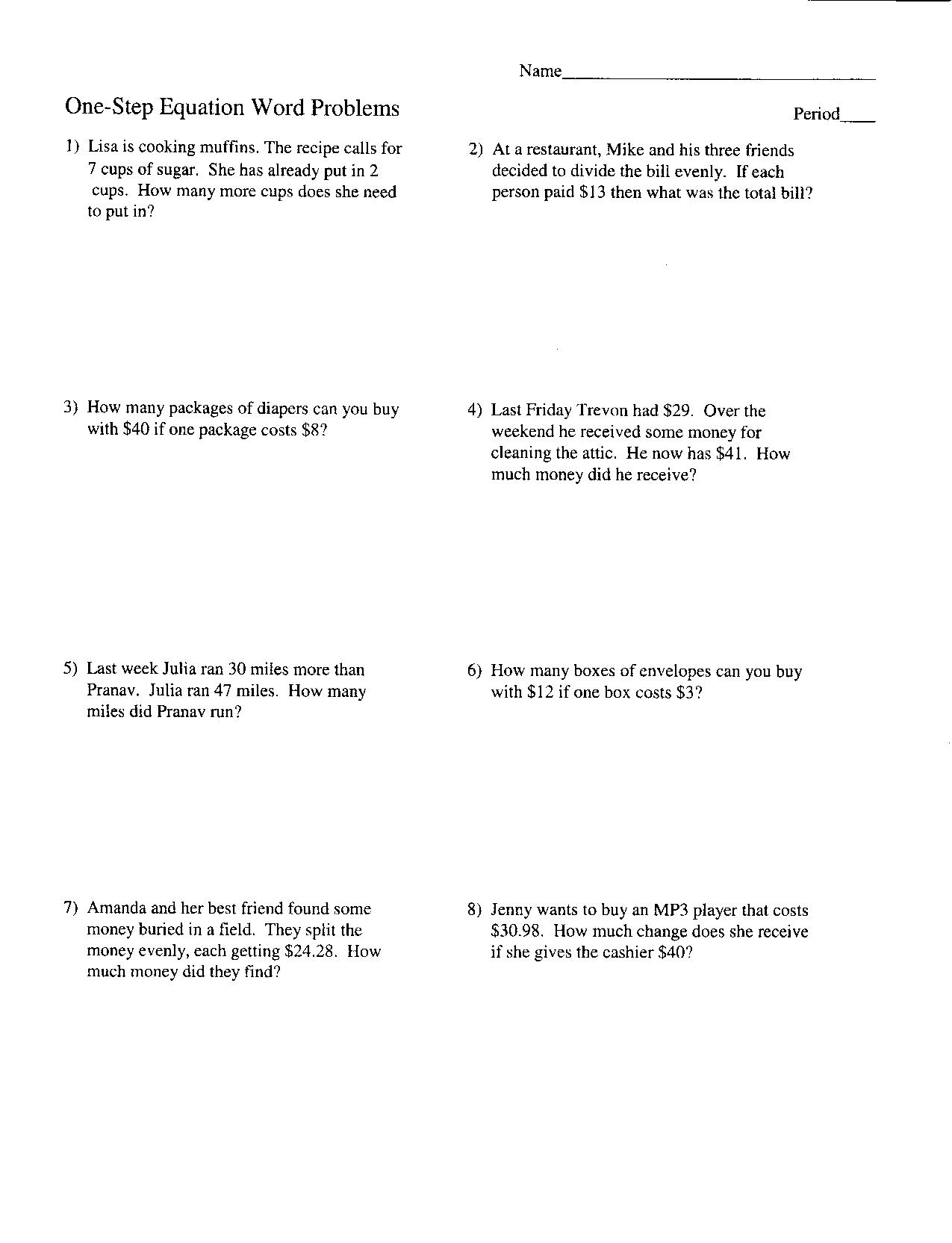 One Step Equation Worksheet