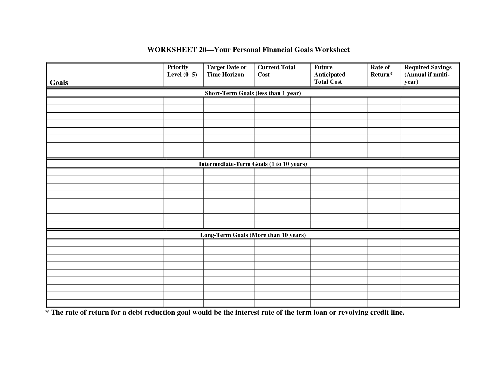 Smart Financial Planning Worksheet