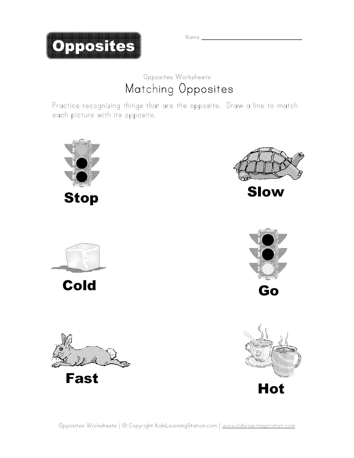14 Best Images Of Opposite Worksheets For Preschoolers