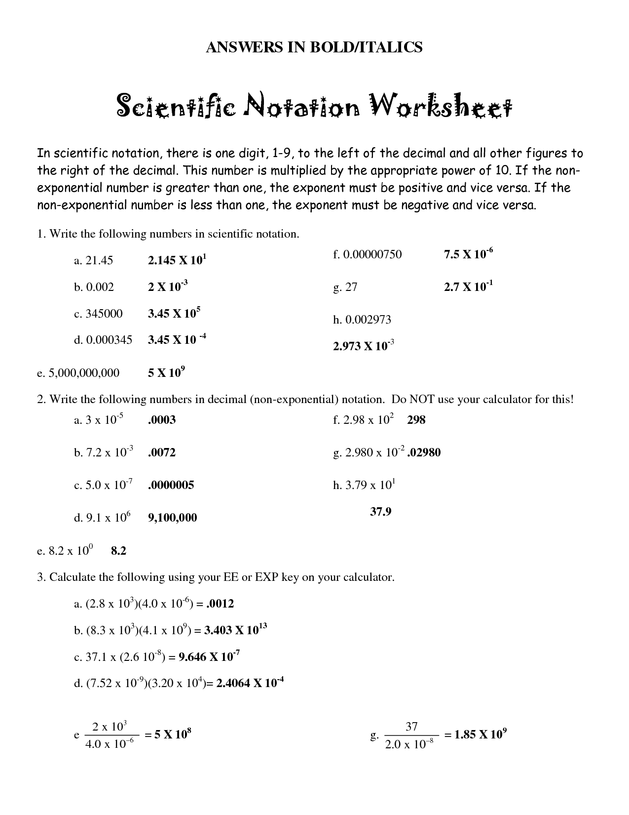 Worksheet On Scientific Notation Calculation